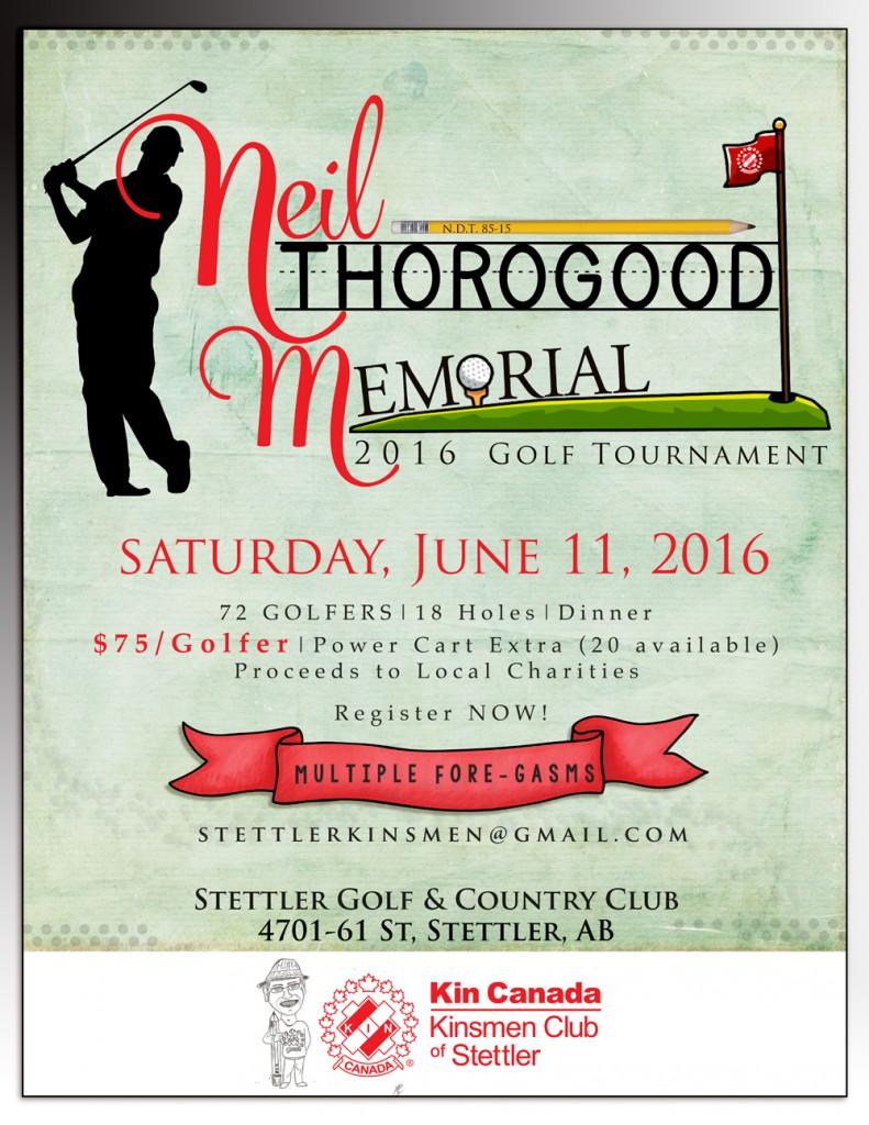 Neil Thorogood Memorial Golf Tournament @ Stettler Golf and Country Club   Stettler   Alberta   Canada