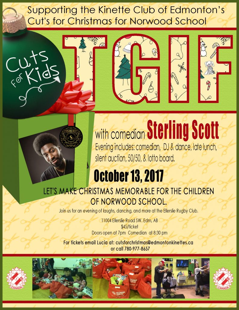 Kinette Club of Edmonton - Cuts for Christmas TGIF with Sterling Scott @ Ellerslie Rugby Club | Edmonton | Alberta | Canada