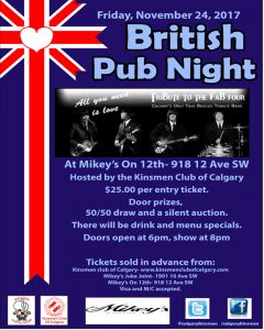 Kinsmen Club of Calgary British Pub Night @ Mikey's on 12th | Calgary | Alberta | Canada